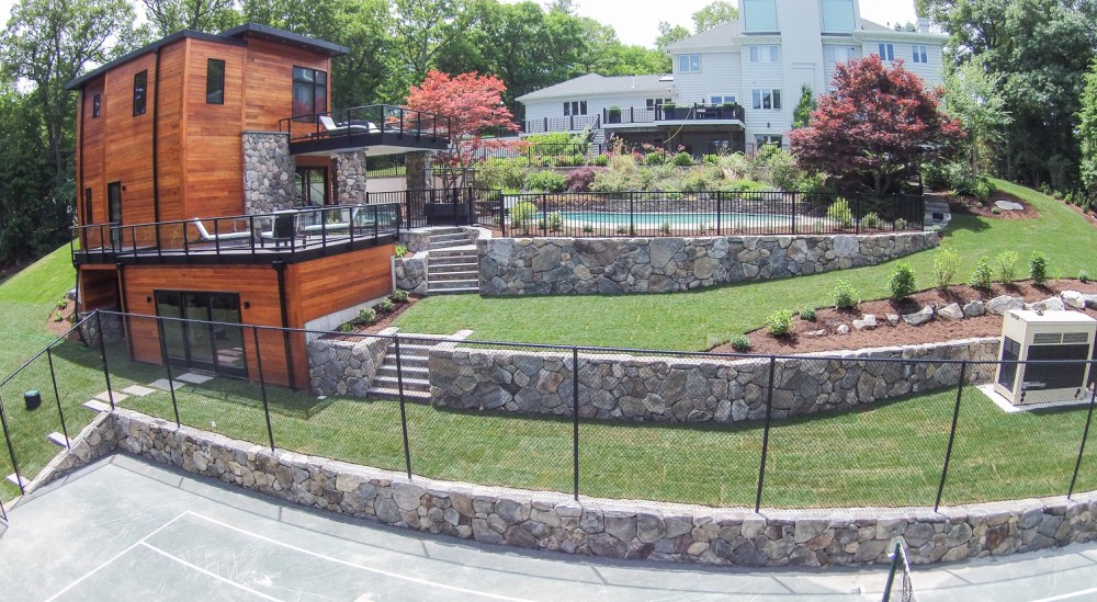 pool house retaining walls